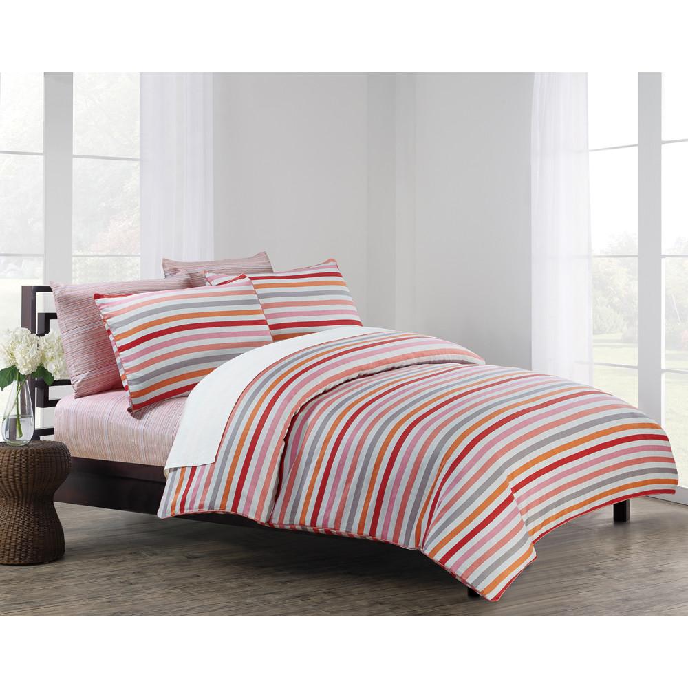 Sonia Coral Stripe Cotton Sateen Bedding Literie Drem Decor